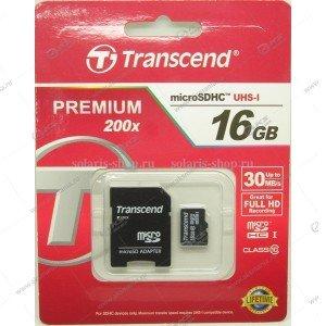 Карта памяти 16GB microSDHC class 10 Transcend 30MB/s с адаптером SD