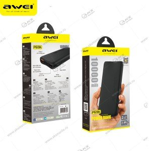 Power Bank Awei P69K 10000 mAh 2USB, 2.8A/1.0A черный