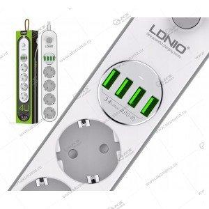 Сетевой фильтр LDNIO 4 розетки 2м (SE4432) +4USB 3,4A 17W
