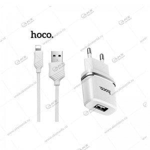СЗУ Hoco C11 1A + кабель lightning 1m белый