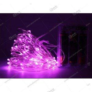 Светодиодная гирлянда на батарейках проволка 7метров розовый