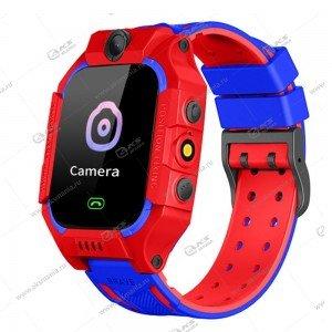Часы детские S9 GPS, Будильник, Шагомер. Сенсорный красно-синий