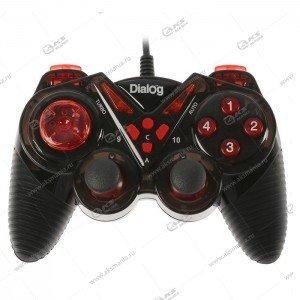 Gamepad проводной GP-A13 DIalog Action - вибрация, 12кнопок, USB, чёрно-красный