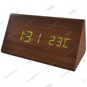 Часы Perfeo Trigonal PF-S711T коричневый корпус/зелёная подсветка