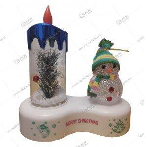 Светодиодная лампа Свеча со снеговиком синий