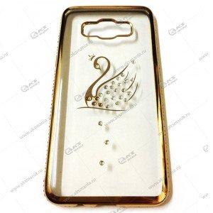 Силикон Samsung A3 стразы по кругу золото лебедь