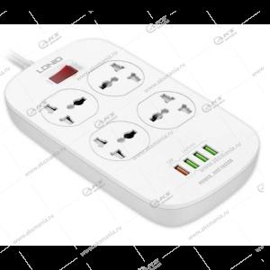 Сетевой фильтр LDNIO 4 розетки 2м (SC4407Q) +4 USB 3,4A белый