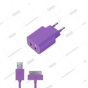 CЗУ Deppa 2USB 2.1A для iPhone 4S/iPad фиолетовый
