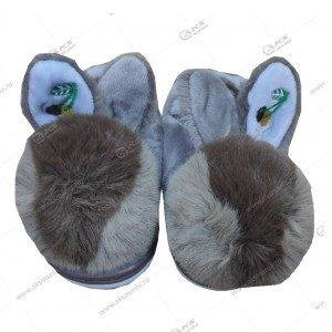 Домашние меховые детские тапочки с ушками закрытые с резинкой 24/25 размер