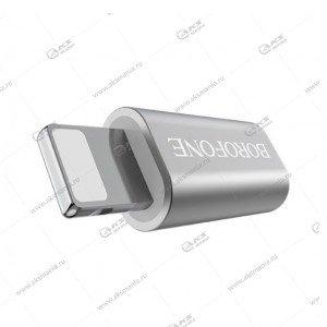 Переходник Borofone BV5 Micro to Lightning Adapter серебро