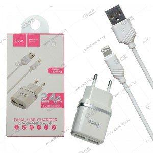 СЗУ Hoco C12 2USB 2.4A + кабель lightning 1m белый