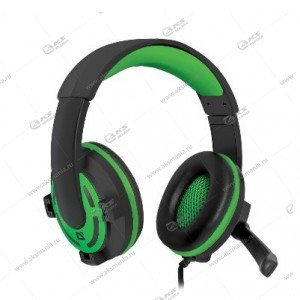 Гарнитура полноразмерная игровая Defender Warhead G-300, кабель 2,5м, черн./зеленые