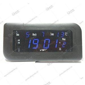 Часы настенные-дата-температура VST-739W/5 синий