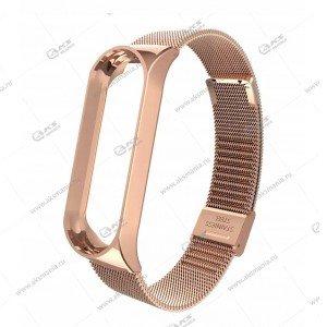 Ремешок на Mi Band 3/4 миланская петля розовое золото