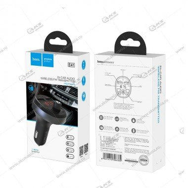 FM Модулятор Hoco E41 Bluetooth + АЗУ 2.1A черный