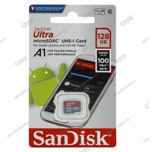 Карта памяти 128GB microSDHC class 10 SanDisk Ultra 100MB/s с адаптером
