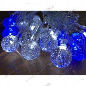 """Гирлянда """"Шарики с пузырьками"""" силиконовый провод 40LED бело-синий"""