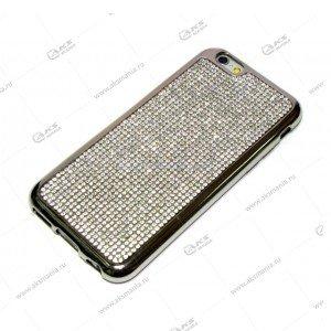Силикон Samsung S6 весь в стразах серебро