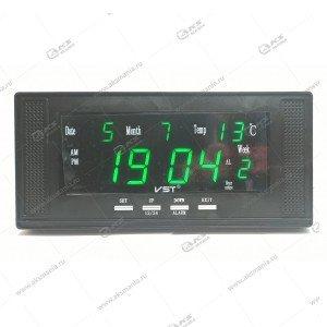 Часы настенные-дата-температура VST-729W/4 ярко-зеленый