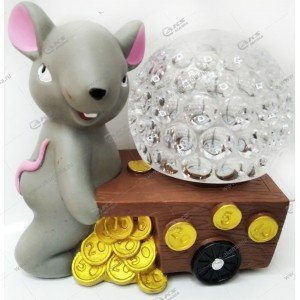 "Светодиодная лампа-шар на подставке ""Крыса"" серый"