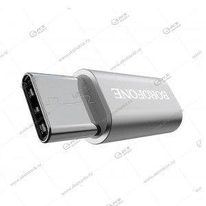 Переходник Borofone BV4 Micro to Type-c Adapter серебро