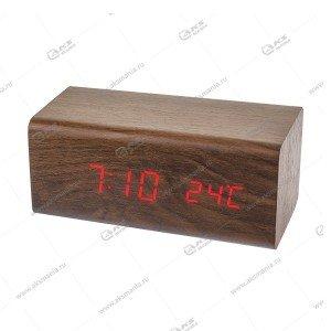 Часы Perfeo Block PF-S718T коричневый/ красный