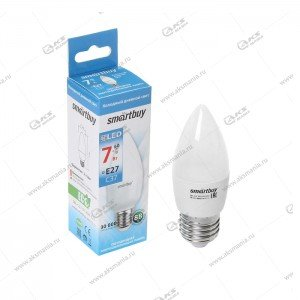 Лампа светодиодная Smartbuy C37-7W-220V-6000K-E27 (свеча, холодный дневной свет)