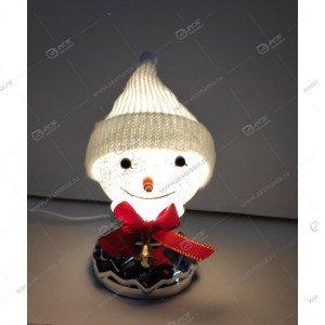 """Лампа-шар с эффектом снегопада и подсветкой """"Снеговик в шапке"""" серебро"""