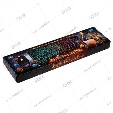 Комплект проводной KMGK-1707U Dialog Gan-Kata - USB, клавиатура + опт. мышь с RGB подсветкой