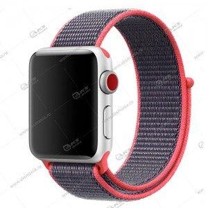 Ремешок нейлоновый для Apple Watch 38mm/ 40mm ярко-розовый с серым