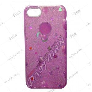 Силикон блестки iPhone 7G 3в1 сердечки розовый