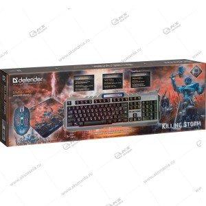 Комплект проводной Defender Killing Storm MKP-013L Клавиатура+мышь+ ковер Подсветка
