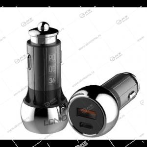 АЗУ LDNIO C1 + Кабель Type-C/ PD + QC 3.0/ 2 USB Auto-ID/ Выход: 5V_9V_12V, 36W Black&Silver