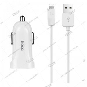 АЗУ Hoco Z2A 2USB 2.4A + кабель lightning белый