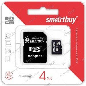 Карта памяти 4GB microSDHC class 4 SmartBuy с адаптером SD