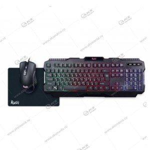 Комплект проводной Smartbuy Rush Shotgun, клавиатура с подсветкой, мышь, коврик, черный