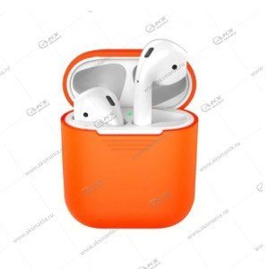 Силиконовый чехол в пакете для Airpods оранжевый