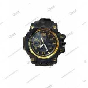 Наручные часы KASIO водонепроницаемые в пластике черно-золотые