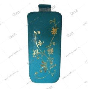 Чехол кожа с язычком (11х5,5см) la fleur эра бирюзовый