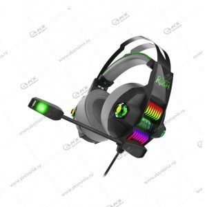 Наушники Smartbuy SBHG-5200 Rush Stormer, LED-подсветка, игровые, черно-зеленые