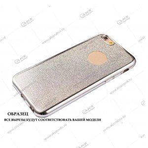 Силикон Samsung S8 Plus кант блестки 2в1 серебро