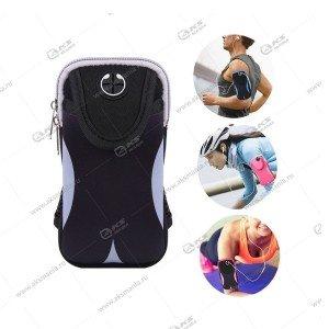 Спортивная чехол-сумка для бега для телефона на руку №2 черный с серым