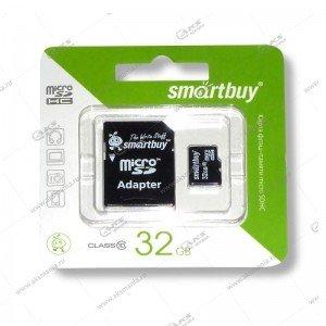 Карта памяти 32GB microSDHC class 10 SmartBuy с адаптером SD