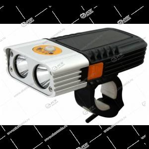 Фонарь на велосипед Smartbuy BF06, светодиодный, 2 LED, 6W, черная/белая, 3xAA