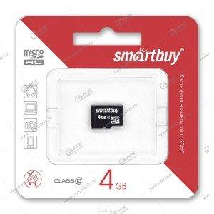 Карта памяти 4GB microSDHC class 4 SmartBuy без адаптера