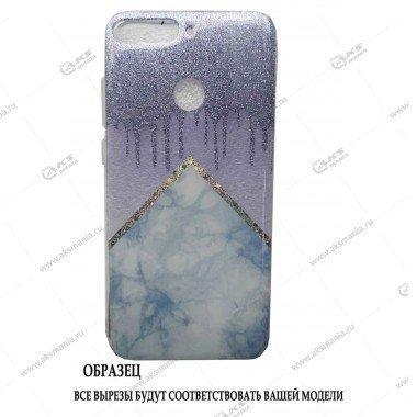 Силикон Huawei Honor 9S мрамор голубой с блестками