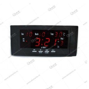 Часы настенные-дата-температура VST-729W/1 красный