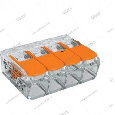 Компактная соединительная клемма Smartbuy, 4 отверстия, 0.2-4мм2, с рычажками (SBE-ccwcc-4)