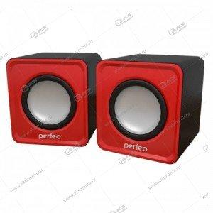 """Компьютерные колонки Perfeo """"WAVE"""" PF-128 USB 2.0, мощность 2х3 Вт красный"""