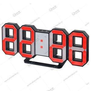 Часы Perfeo Luminous PF-663 черный корпус / красная подсветка